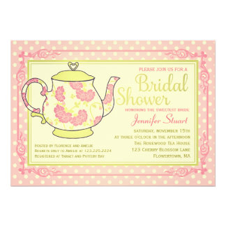 Elegant Vintage Floral Tea Bridal Shower Announcement