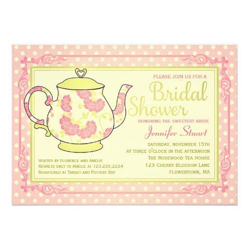 Elegant Vintage Floral Tea Bridal Shower Announcement