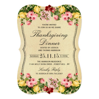 Elegant Vintage Floral Thanksgiving Dinner 13 Cm X 18 Cm Invitation Card