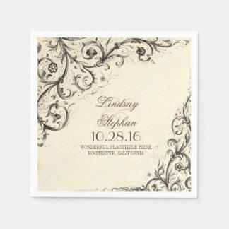 Elegant vintage flourishes wedding paper napkins disposable serviette