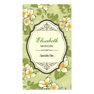 Elegant Vintage Flowers Green Chic Leaves Pack Of Standard Business Cards