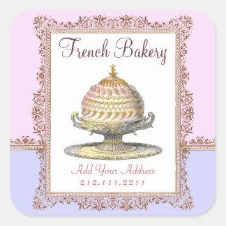 Elegant Vintage French Bakery Birthday Cake Square Sticker