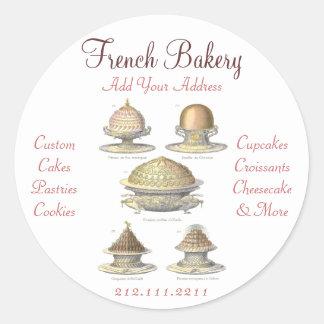 Elegant Vintage French Bakery - Pastry, Cake Shop Classic Round Sticker