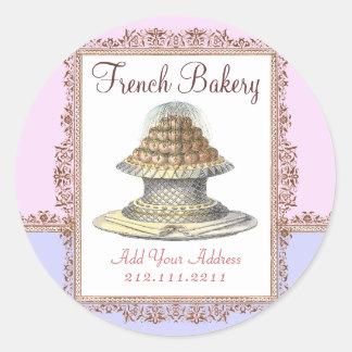 Elegant Vintage French Bakery - Pink, Purple Round Sticker