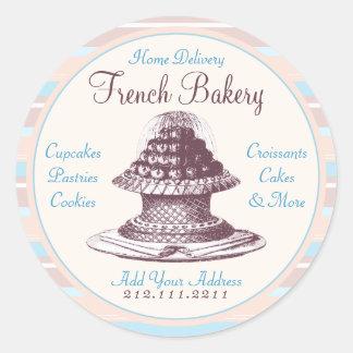 Elegant Vintage French Pastries: Bakery Peach Stri Round Sticker