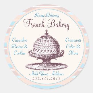 Elegant Vintage French Pastries Victorian Baker Round Sticker