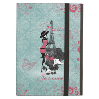 Elegant vintage French poodle girls silhouette iPad Covers