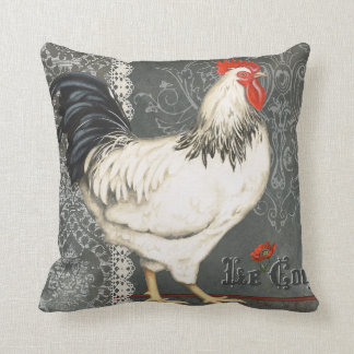 Elegant vintage French Rooster black grey & white Cushion