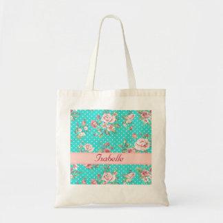 Elegant  vintage gentle floral monogram tote bag