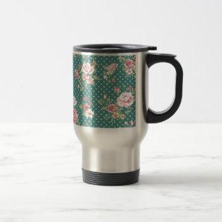 Elegant  vintage gentle floral stainless steel travel mug