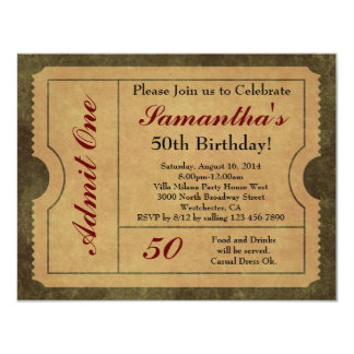 Elegant Vintage Gold Admit One 50th Birthday/Party 4.25x5.5 Paper Invitation Card
