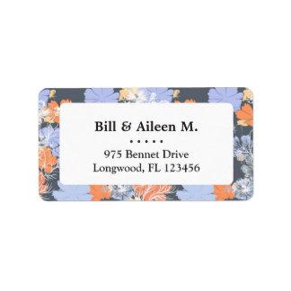 Elegant vintage grey violet orange floral pattern address label