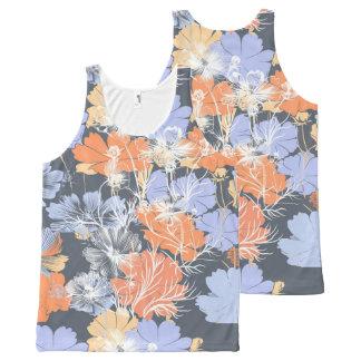 Elegant vintage grey violet orange floral pattern All-Over print singlet