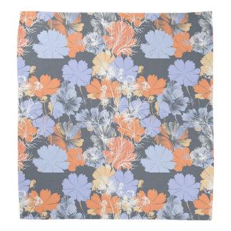 Elegant vintage grey violet orange floral pattern bandana