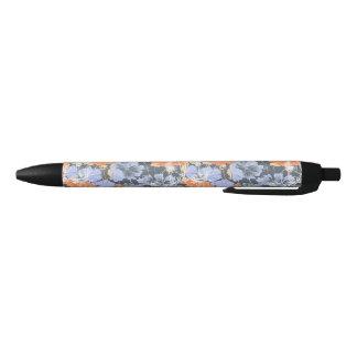 Elegant vintage grey violet orange floral pattern black ink pen