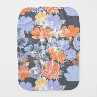 Elegant vintage grey violet orange floral pattern burp cloths