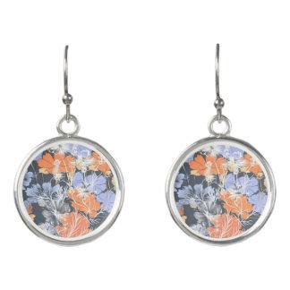 Elegant vintage grey violet orange floral pattern earrings