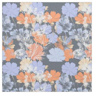 Elegant vintage grey violet orange floral pattern fabric