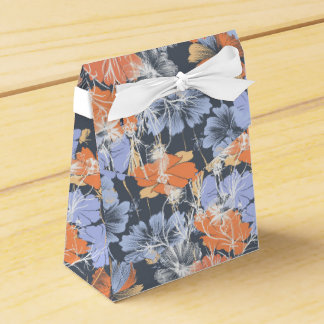 Elegant vintage grey violet orange floral pattern favour box
