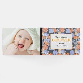 Elegant vintage grey violet orange floral pattern guest book