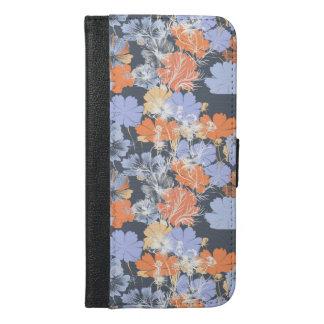 Elegant vintage grey violet orange floral pattern iPhone 6/6s plus wallet case