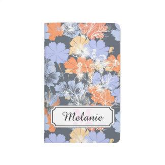 Elegant vintage grey violet orange floral pattern journal