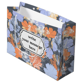 Elegant vintage grey violet orange floral pattern large gift bag