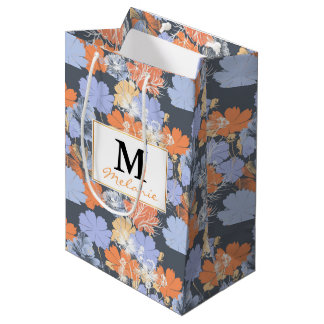 Elegant vintage grey violet orange floral pattern medium gift bag