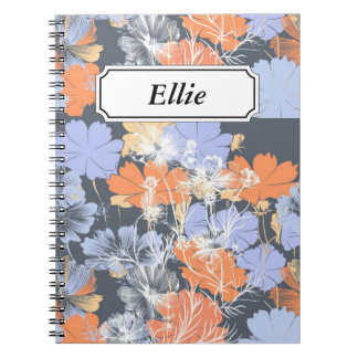 Elegant vintage grey violet orange floral pattern notebook