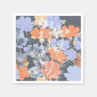 Elegant vintage grey violet orange floral pattern paper napkins