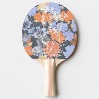 Elegant vintage grey violet orange floral pattern ping pong paddle
