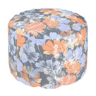 Elegant vintage grey violet orange floral pattern pouf
