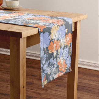 Elegant vintage grey violet orange floral pattern short table runner