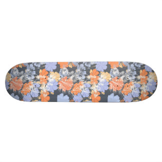 Elegant vintage grey violet orange floral pattern skate board decks