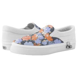 Elegant vintage grey violet orange floral pattern slip on shoes