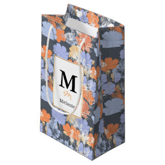 Elegant vintage grey violet orange floral pattern small gift bag