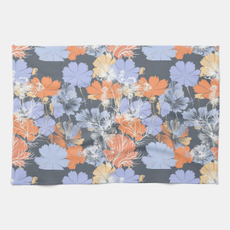 Elegant vintage grey violet orange floral pattern tea towel