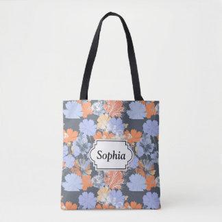 Elegant vintage grey violet orange floral pattern tote bag