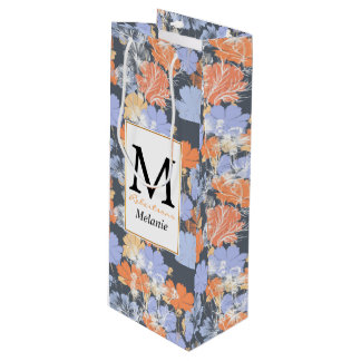 Elegant vintage grey violet orange floral pattern wine gift bag