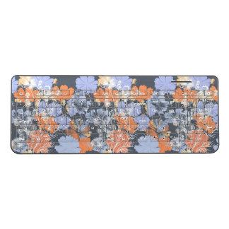 Elegant vintage grey violet orange floral pattern wireless keyboard