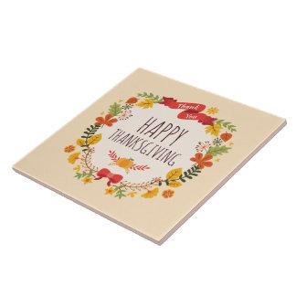 Elegant Vintage Happy Thanksgiving | Ceramic Tile
