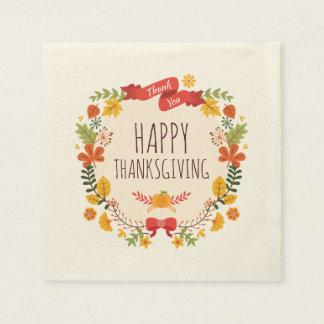 Elegant Vintage Happy Thanksgiving | Napkin Disposable Serviettes