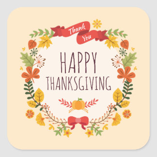 Elegant Vintage Happy Thanksgiving | Sticker Seal