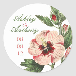 Elegant Vintage Hibiscus Floral Wedding Stickers