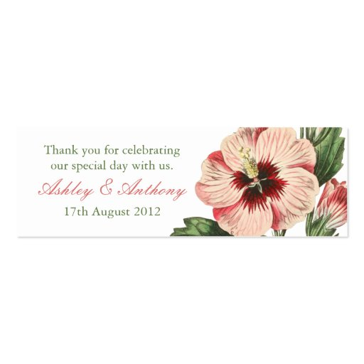 Elegant vintage hibiscus flower floral Favour Tags Business Card Template
