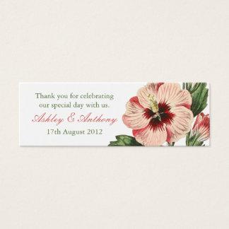 Elegant vintage hibiscus flower floral Favour Tags Mini Business Card