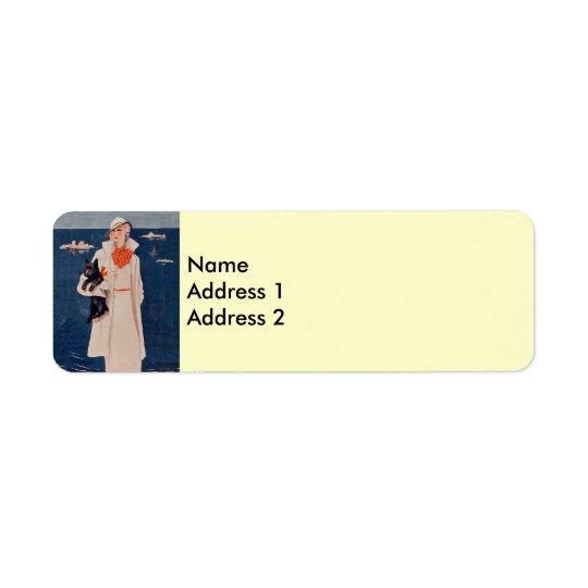 Elegant Vintage Lady Scotty Dog Return Address Lab Return Address Label