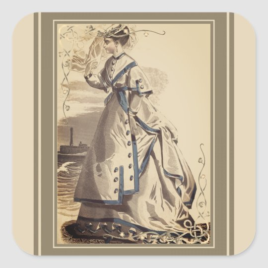 Elegant Vintage Lady Square Sticker