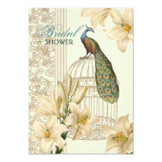 elegant Vintage lily floral peacock Bridal Shower Card
