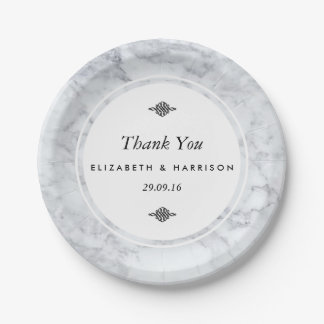 Elegant Vintage Marble Wedding 7 Inch Paper Plate